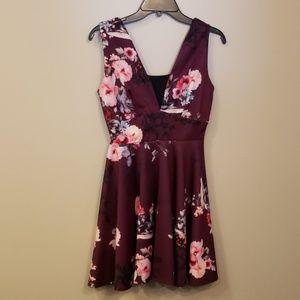 BNWT ASOS Plum Floral Skater Dress w Back Cutout